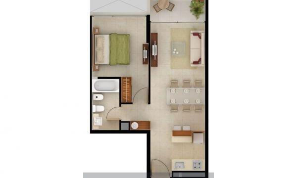 1 dormitorio con excelente vista